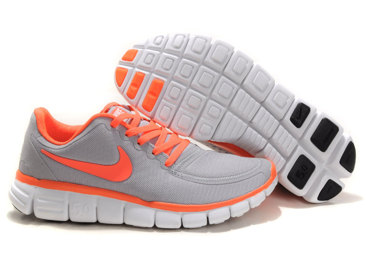 Women Nike Free 5.0 V4 Running Shoes Grey Orange