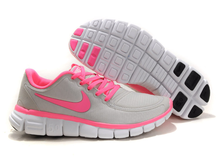 Women Nike Free 5.0 V4 Running Shoes Grey Pink