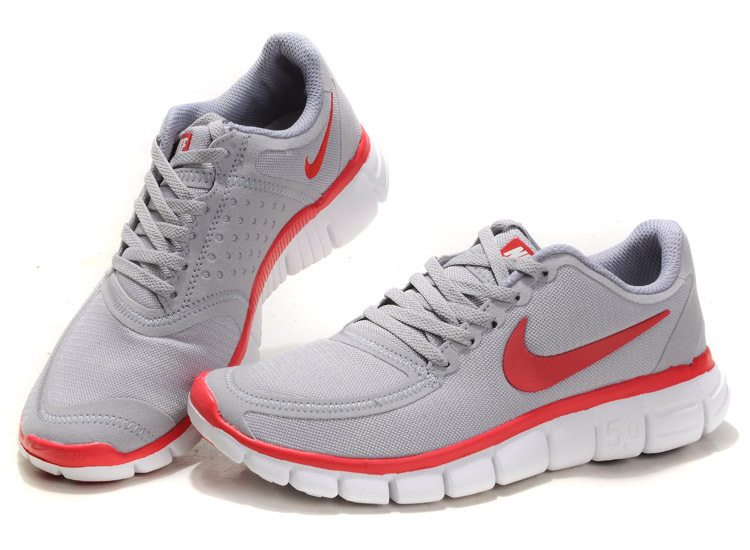 Women Nike Free 5.0 V4 Running Shoes Grey Red White