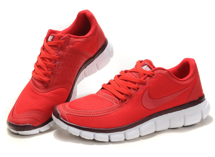 Women Nike Free 5.0 V4 Running Shoes Red White