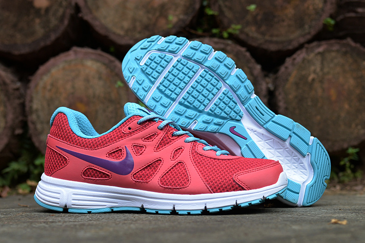 Women Nike Revolution 2 MSL Red Blue Running Shoes