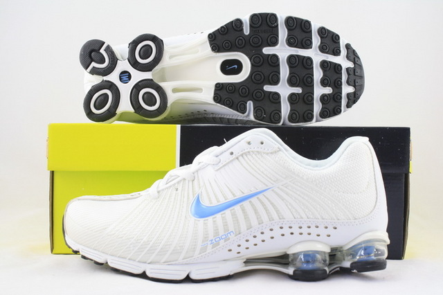 Women Nike Shox R1 All White Baby Blue Logo Running Shoes