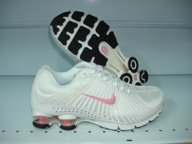 Women Nike Shox R1 All White Pink Logo Running Shoes