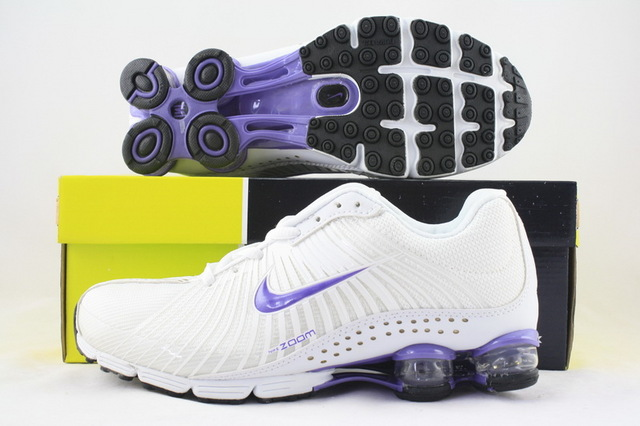 Women Nike Shox R1 All White Purple Running Shoes