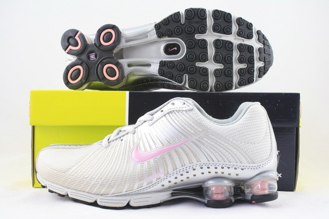 Women Nike Shox R1 Silver Pink Logo Running Shoes