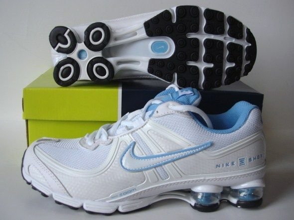 Women Nike Shox R2 White Baby Blue Running Shoes