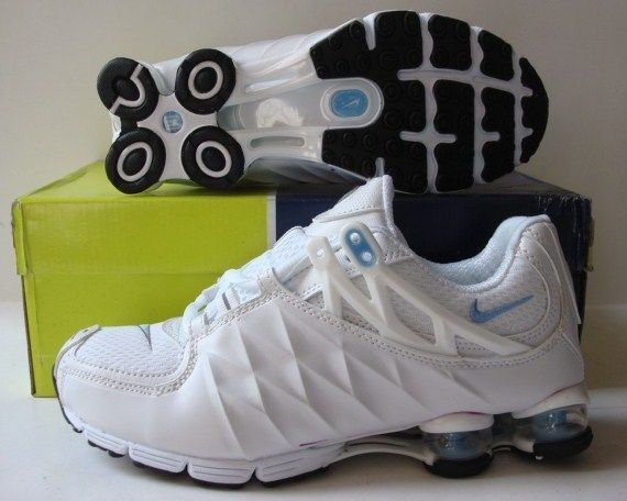 Women Nike Shox R3 White Blue Running Shoes