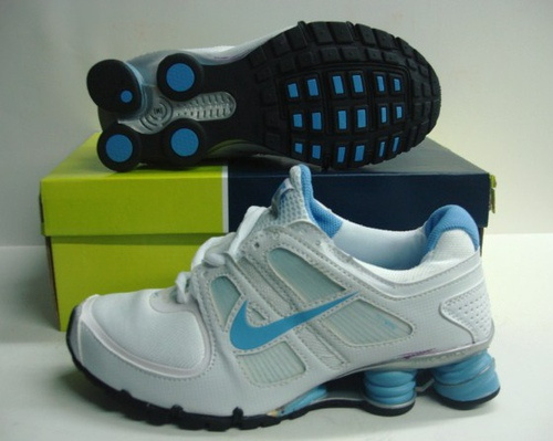 Women Nike Shox R5 White Baby Blue Running Shoes