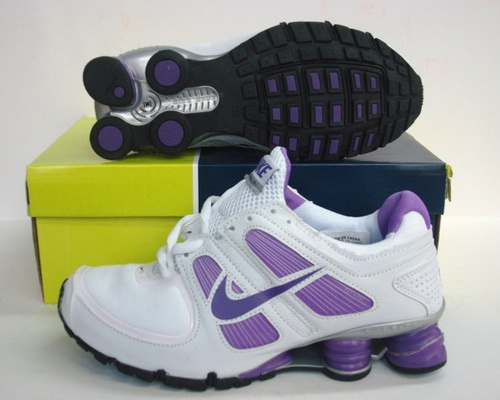 Women Nike Shox R5 White Purple Running Shoes