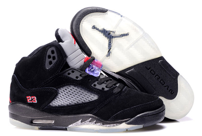 Womens Air Jordan 5 Suede Black Grey Red