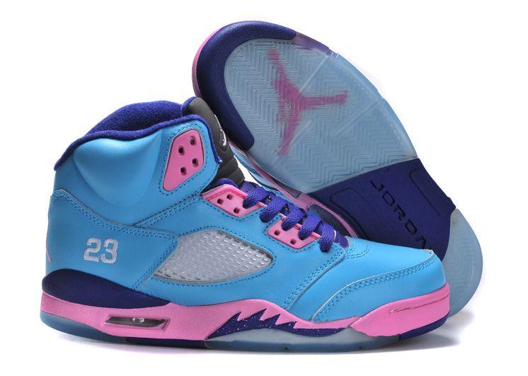 Womens Air Jordan 5 Teal Pink Purple