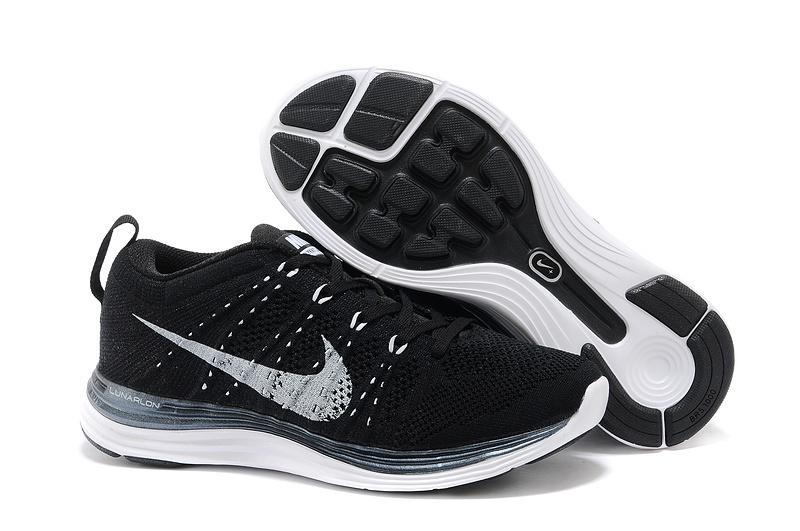 Womens Nike Flyknit Black White Shoes