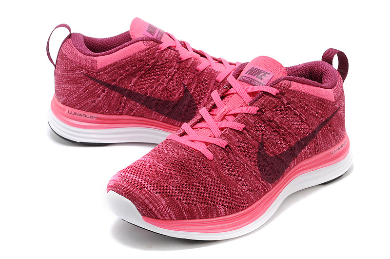 Womens Nike Flyknit Wine Red White Shoes