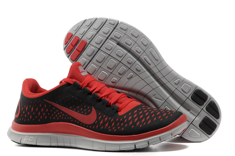 Women Nike Free Run+ 3 Black Red Grey Shoes