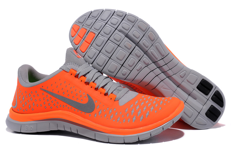 Women Nike Free Run+ 3 Orange Grey Shoes