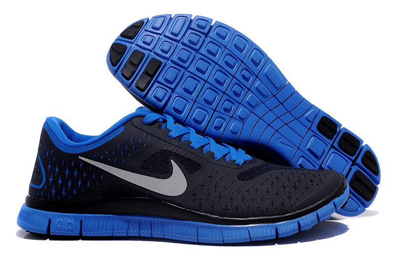 Women Nike Free Run 4.0 V2 Black Blue Shoes