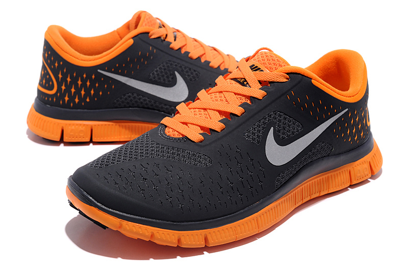 Women Nike Free Run 4.0 V2 Black Orange Shoes