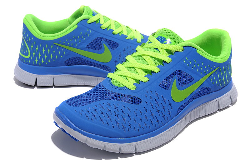 Women Nike Free Run 4.0 V2 Blue Green Shoes