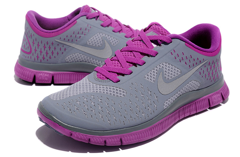 Women Nike Free Run 4.0 V2 Grey Purple Shoes