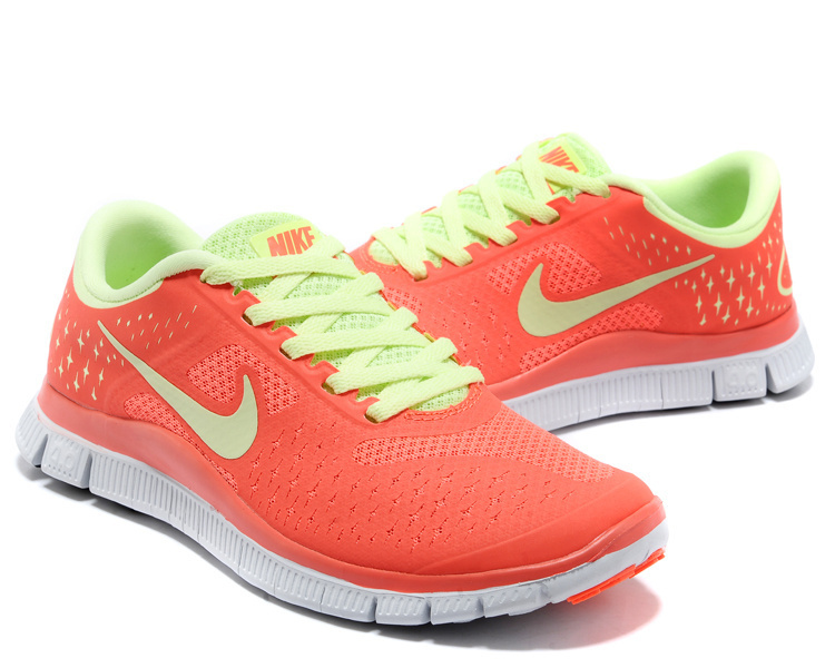 Women Nike Free Run 4.0 V2 Orange Green Shoes