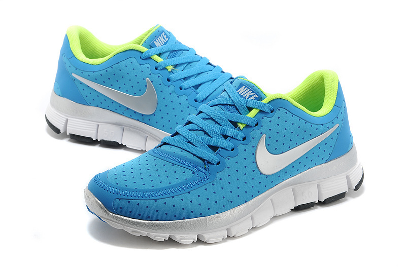 Womens Nike Free Run 5.0 V4 Blue Green White Shoes
