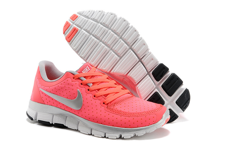 Womens Nike Free Run 5.0 V4 Peach Silver Shoes