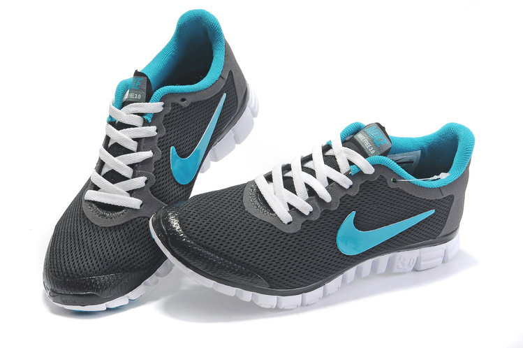 Women Nike Free Running 3.0 Mesh Dark Grey Blue Shoes