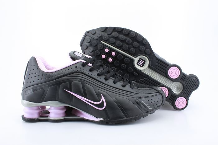 Women Shox Black Pink Logo Shoes