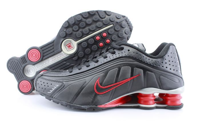 Women Shox Black Red Logo Shoes