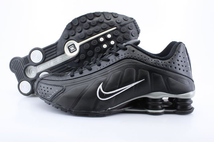 Women Shox Black White Logo Shoes
