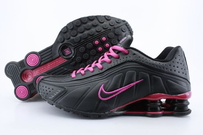 Women Shox Black Wine Red Logo Shoes