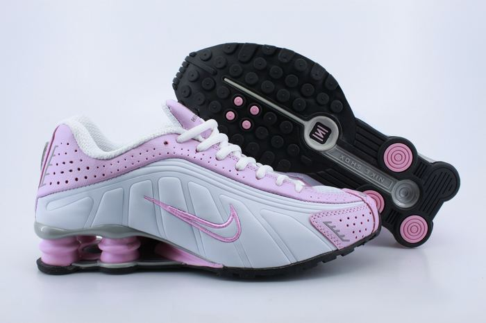 Women Shox Pink White Pink Logo Shoes