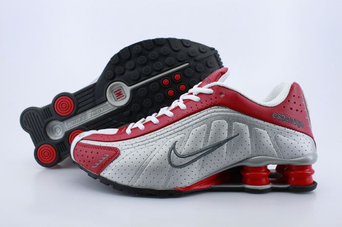 Women Shox Red Grey Logo Shoes