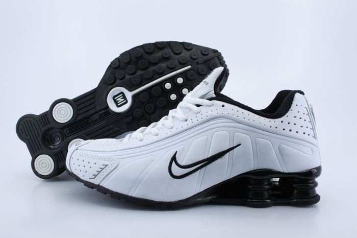 Women Shox White Black Logo Shoes