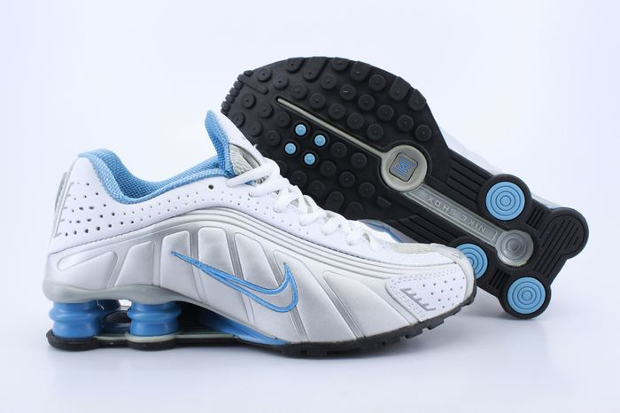 Women Shox White Blue Logo Shoes