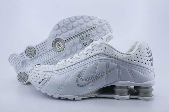 Women Shox White Grey Logo Shoes