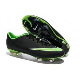 men's new soccer shoes nike mercurial vapor x fg black green